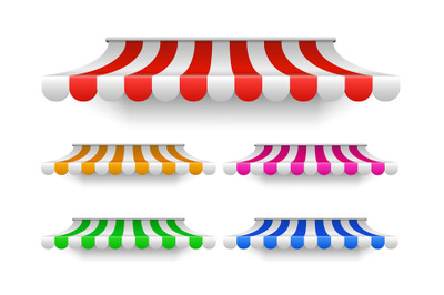 Shop awning tents for window. Outdoor market canopy, vintage store roo