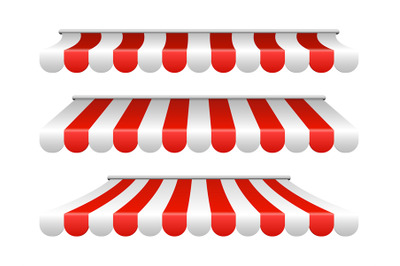 Striped white and red sunshade for cafe, shop, market
