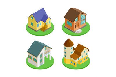 3D isometric living houses vector of set