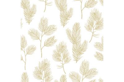 Hand drawn golden fir branches seamless pattern background