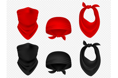 Head bandanas, neck scarf and realistic vector set