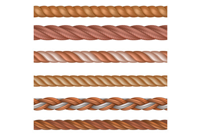 Realistic seamless rope and nautical cables vector set isolated on whi