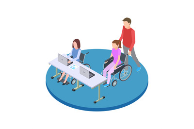 Socialization and education of people with disabilities isometric vect