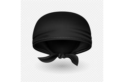 Vector realistic black head bandana with shadow