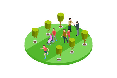 Volunteers and disabled people walk isometric vector