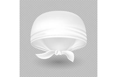 White realistic head bandana isolated on background