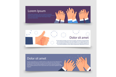 Applause flat banners template with clapping hands