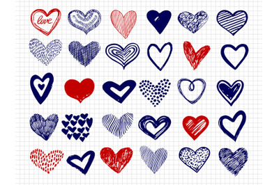 Ballpoint pen drawing doodle hearts vector big collection
