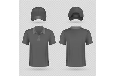 Black baseball cap and male polo t-shirt realistic vector mockup