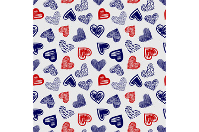 Doodle ballpoint pen drawing hearts seamless pattern vector