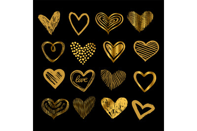 Doodle golden hearts. Hand drawn love heart icons vector set