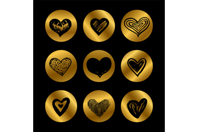 Gold icons with hand drawn black hearts vector set