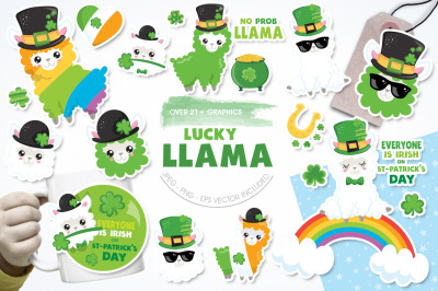 Lucky Llama graphic and illustrations
