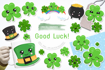 Good Luck graphic and illustrations