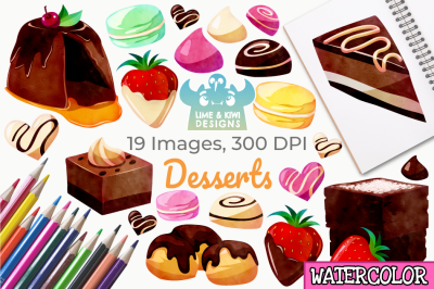 Dessert Watercolor Clipart, Instant Download Vector Art