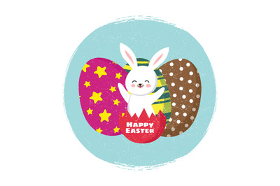 Happy easter card vector template with cartoon bunny and coloring eggs