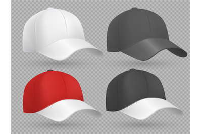 Realistic baseball cap black, white and red vector templates