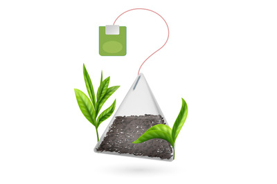 Realistic vector tea bag pyramid with tea leaves isolated on white bac