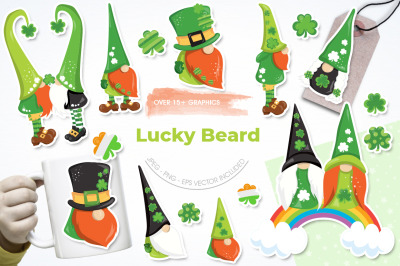 Lucky Beard graphic and illustration