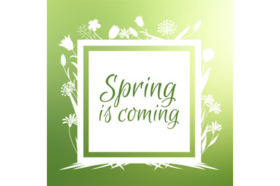 Spring is coming banner and vector design with flowers sihouettes