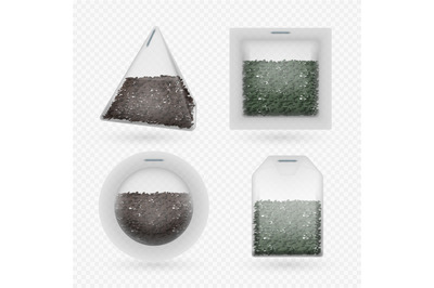 Vector tea bags with black and green brewing tea isolated on transpare