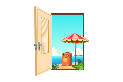 Welcome to the beach cartoon vector template