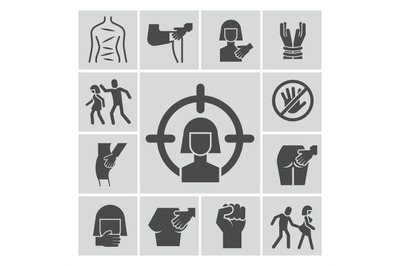 Stop violence, sexual abuse, harassment vector icons set