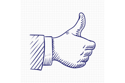 Thumbs up like hand sketch vector illustration