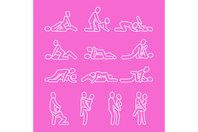Vector love outline. Sexual position line icons