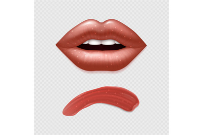 Vector realistic female lips and lipstick template
