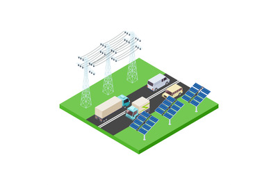 Eco power transmission and highway isometric vector