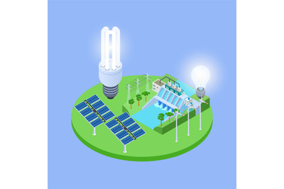 Ecological energy isometric vector with solar panels