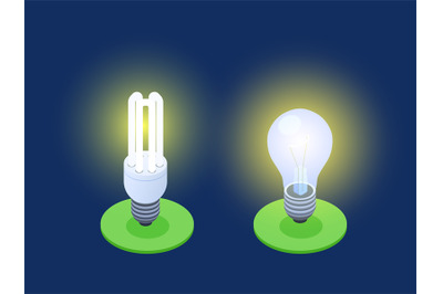 Energy-saving and LED lamps isometric vector illustration