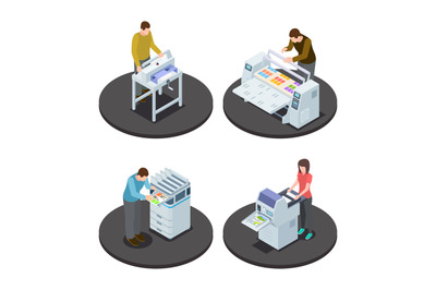 Isometric printing house icons concept with digital rotary large forma
