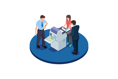 Office workers are testing a new printer isometric vector concept