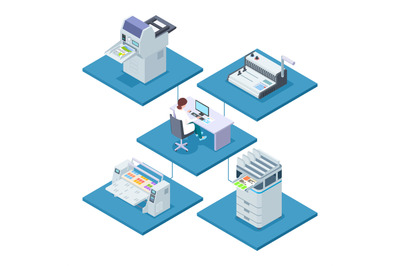 Printing house with woman opertator isometric vector concept