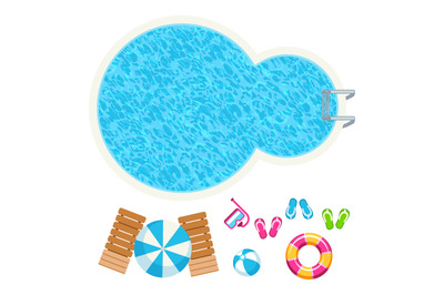Swimming pool and summer accessorises top view vector elements
