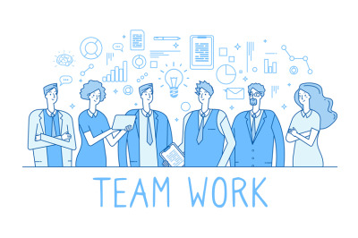 Teamwork line concept. Creative business team office workers, employee