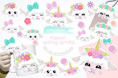 Kawaii Spring Lambs graphic and illustration
