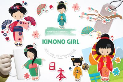 Kimono Girl graphic and illustration