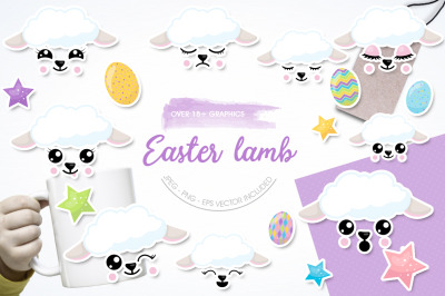 Easter Lambs graphic and illustration