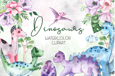 Dinosaurs. Watercolor clipart
