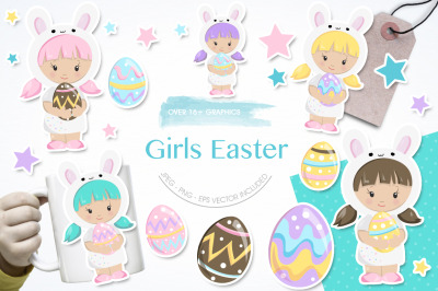 Girl Easter graphic and illustration