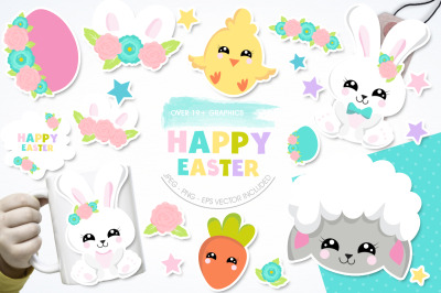 Happy Easter graphic and illustration