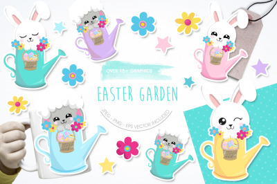Easter Garden graphic and illustration