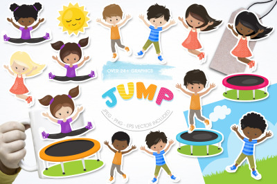 Jump graphic and illustration