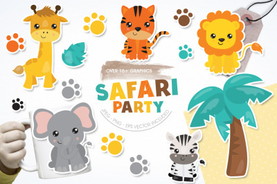 Safari Party graphic and illustration
