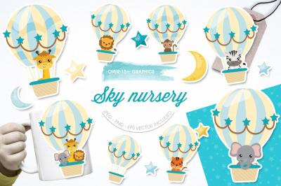 Sky Nursery graphic and illustration