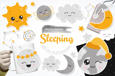 Sleeping graphic and illustration