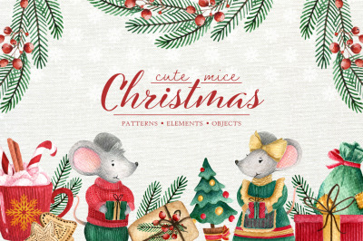 Christmas watercolor set. Cute mice